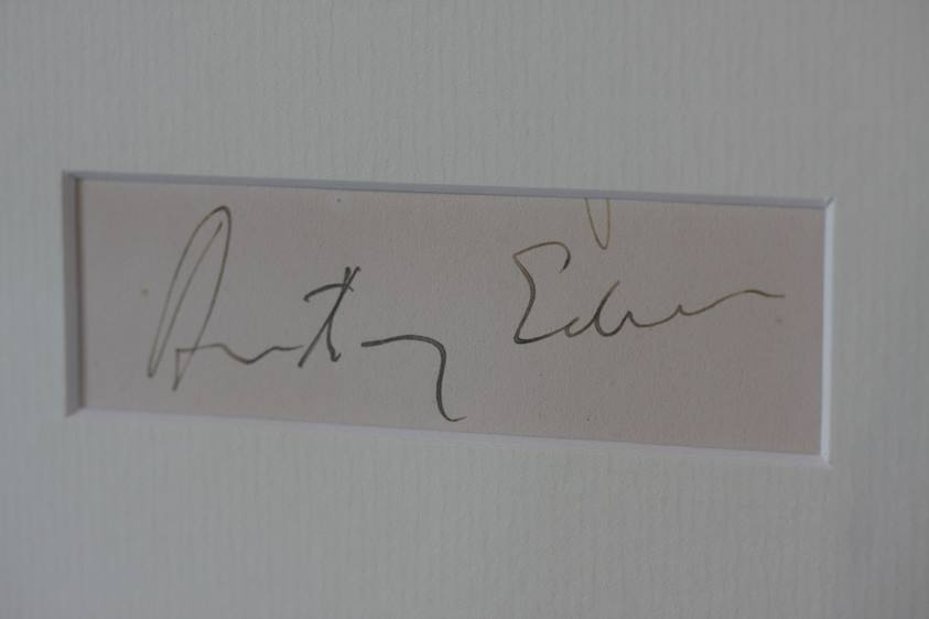 Lot 104 - Anthony Eden (1897 - 1977) British Prime Minister signature, mounted and framed