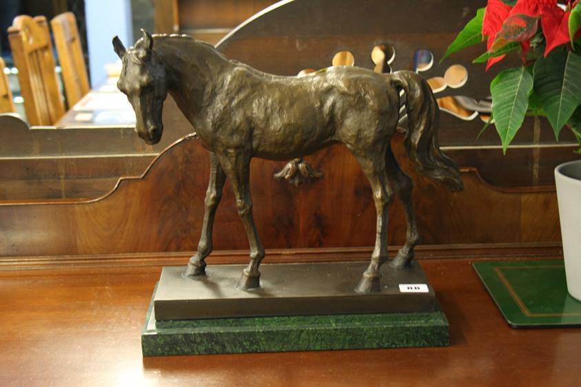 Lot 88 - A bronzed horse after Barye, on green marble base