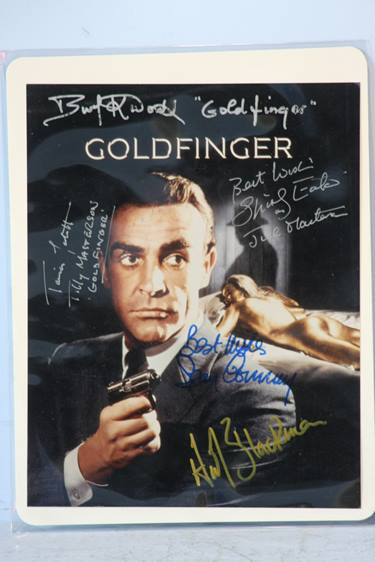 Lot 103 - James Bond collection of 19 items including a multi-signed photograph 'Goldfinger' which includes