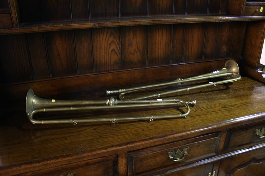 Lot 83 - A pair of 19th Century Fanfare bugles, by Henry Keats and Son