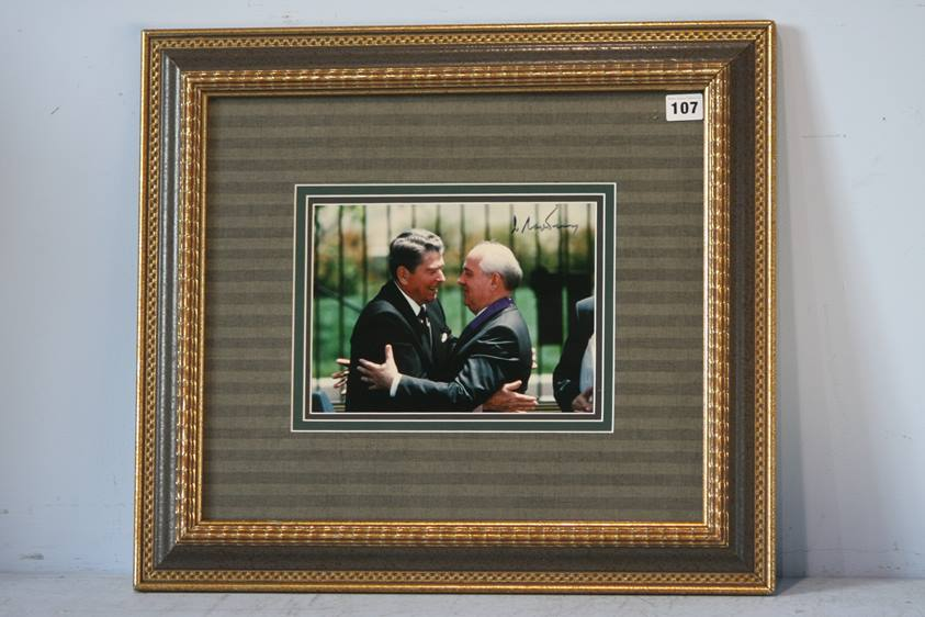 Lot 107 - Mikhail Gorbachev Soviet Union president, signed photograph greeting President Reagan, mounted and