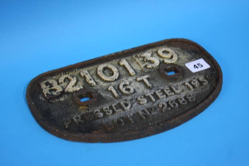 Lot 45 - A cast iron wagon plate