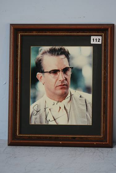 Lot 112 - Kevin Costner, signed photograph 'See You at the Movies' framed
