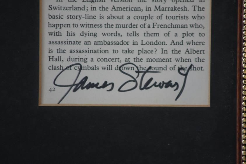 Lot 113 - James Stewart signature, 1908-1977, framed