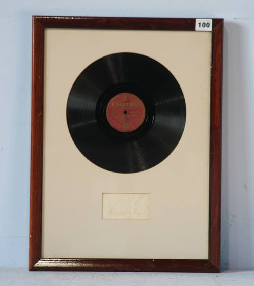 Lot 100 - Glen Miller signature, framed with Columbia record of Glen Miller and his orchestra, signature in