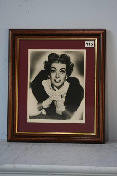 Lot 115 - Joan Crawford (1904-1977) signed photograph, framed