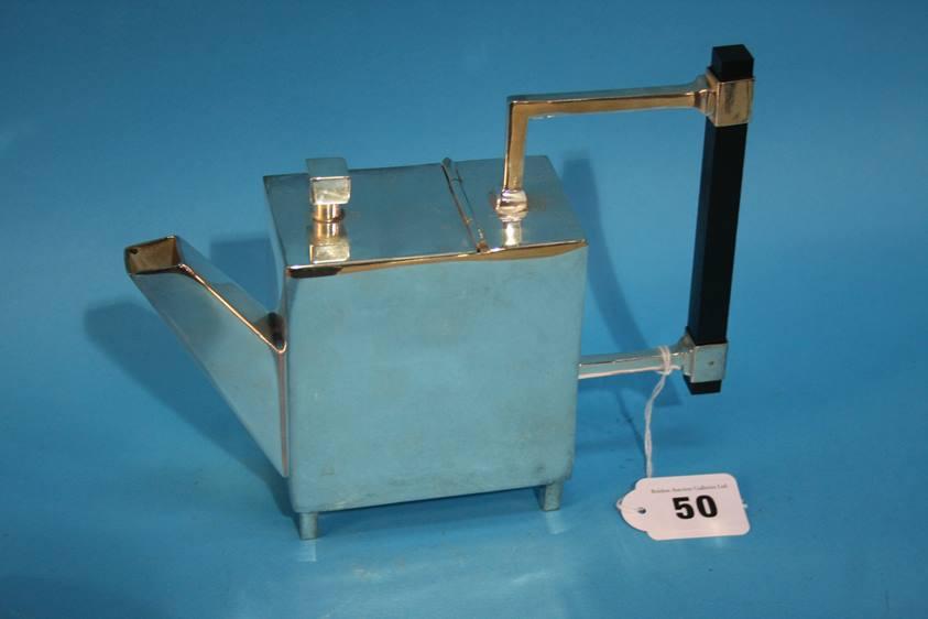 Lot 50 - A silver plated Art Deco style tea pot