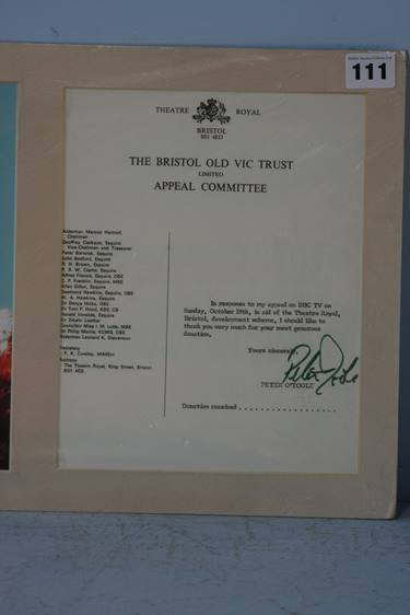 Lot 111 - Peter O'Toole signature on an 'Old Vic' appeal committee acknowledgment, mounted alongside a