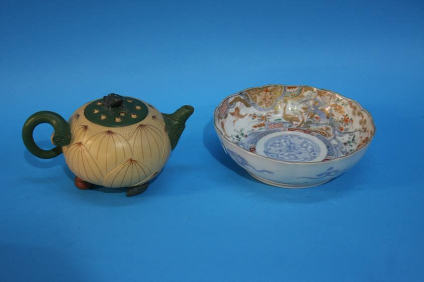 Lot 51 - A small Oriental tea pot and bowl