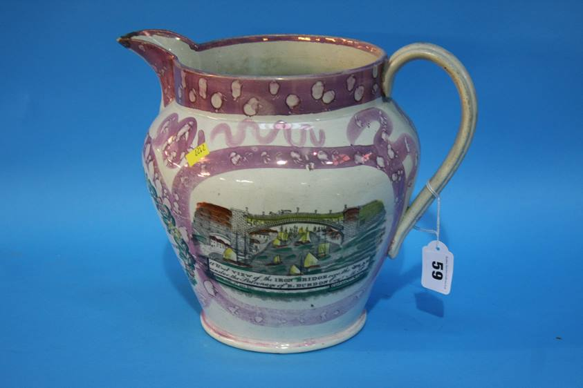 Lot 59 - A Sunderland Lustre jug decorated with Masonic scene, view of the Iron Bridge and a verse '