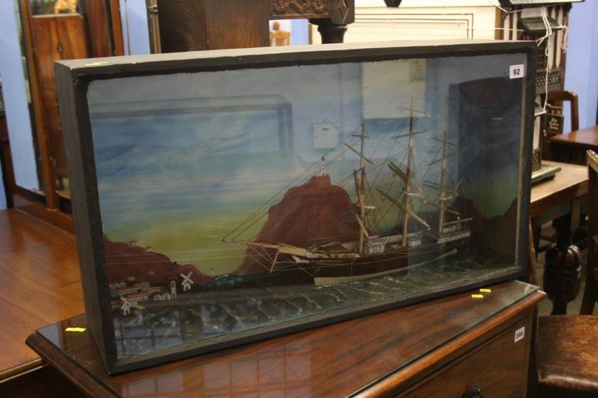 Lot 92 - A cased Diorama of a ship
