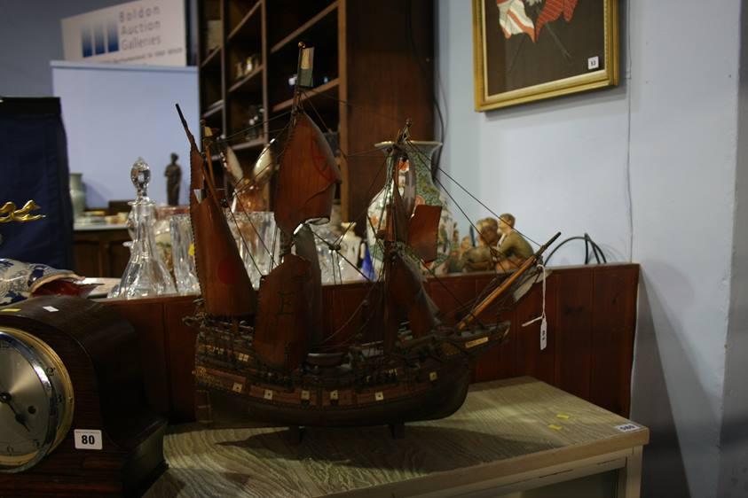 Lot 81 - A model galleon