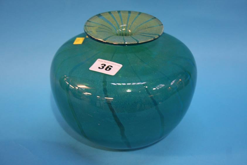 Lot 36 - A Mdina glass vase, signed to base and dated 1977