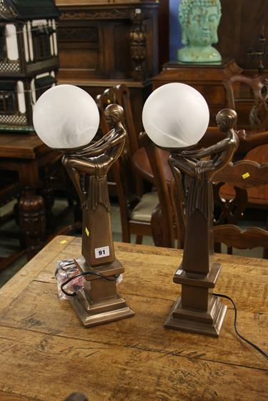 Lot 91 - Pair of Art Deco style figural lamps