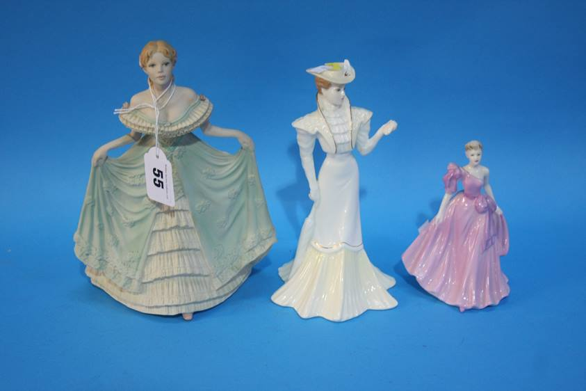 Lot 55 - A collection of seven various figurines; Royal Doulton, Coalport etc.