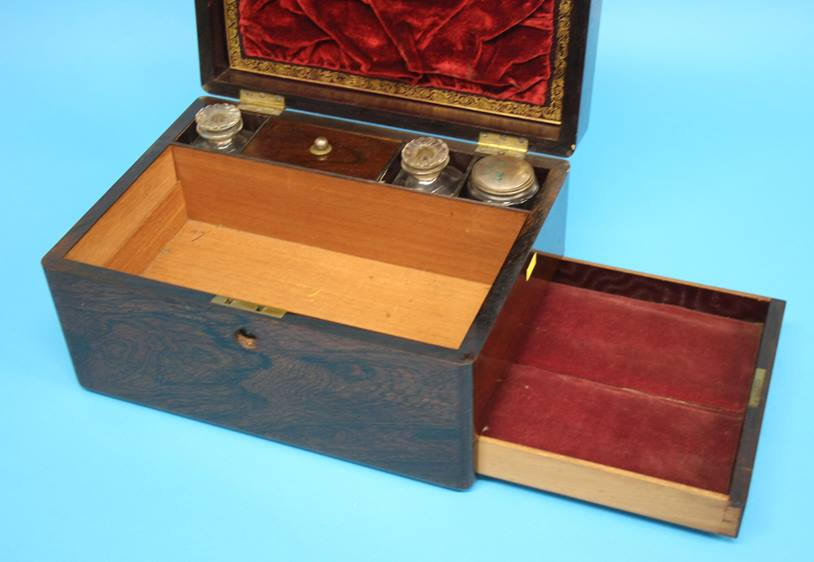 Lot 27 - A Victorian Rosewood work box, opening to reveal a fitted interior, with single drawer to the