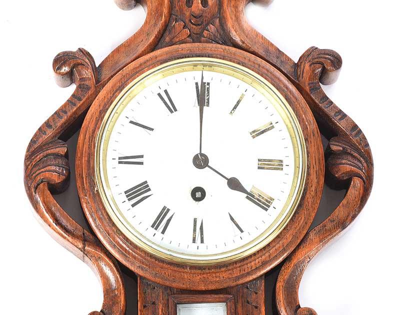 VICTORIAN OAK CLOCK BAROMETER - Image 2 of 4
