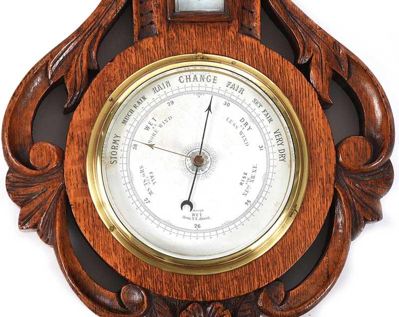 VICTORIAN OAK CLOCK BAROMETER - Image 4 of 4