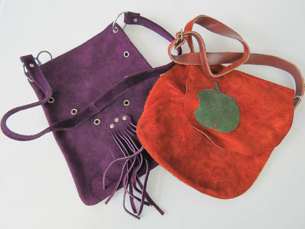 Lot 618 - Two vintage suede ladies handbags c 1970