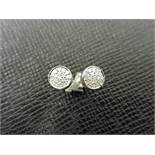 0.17ct illusion set diamond stud earrings in 9ct white gold. Small round cut diamonds