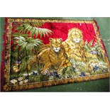PATTERNED RUG WITH LION EMBROIDERED DESIGN
