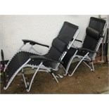 TWO FOLDING PATIO CHAIRS WITH BLACK MESH SEATS