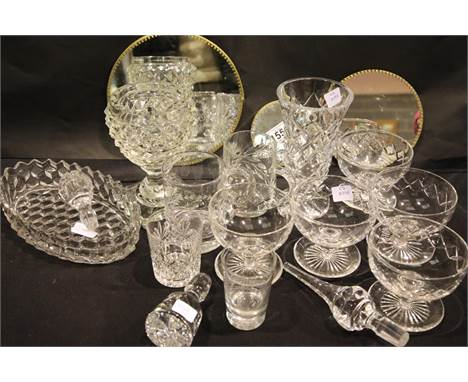 Collection of assorted crystal including five Webb sorbet glasses, a Waterford Crystal bowl and mirrored stands. Not availabl
