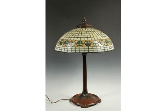 ACORN SHADE w ART GLASS BASE LAMP