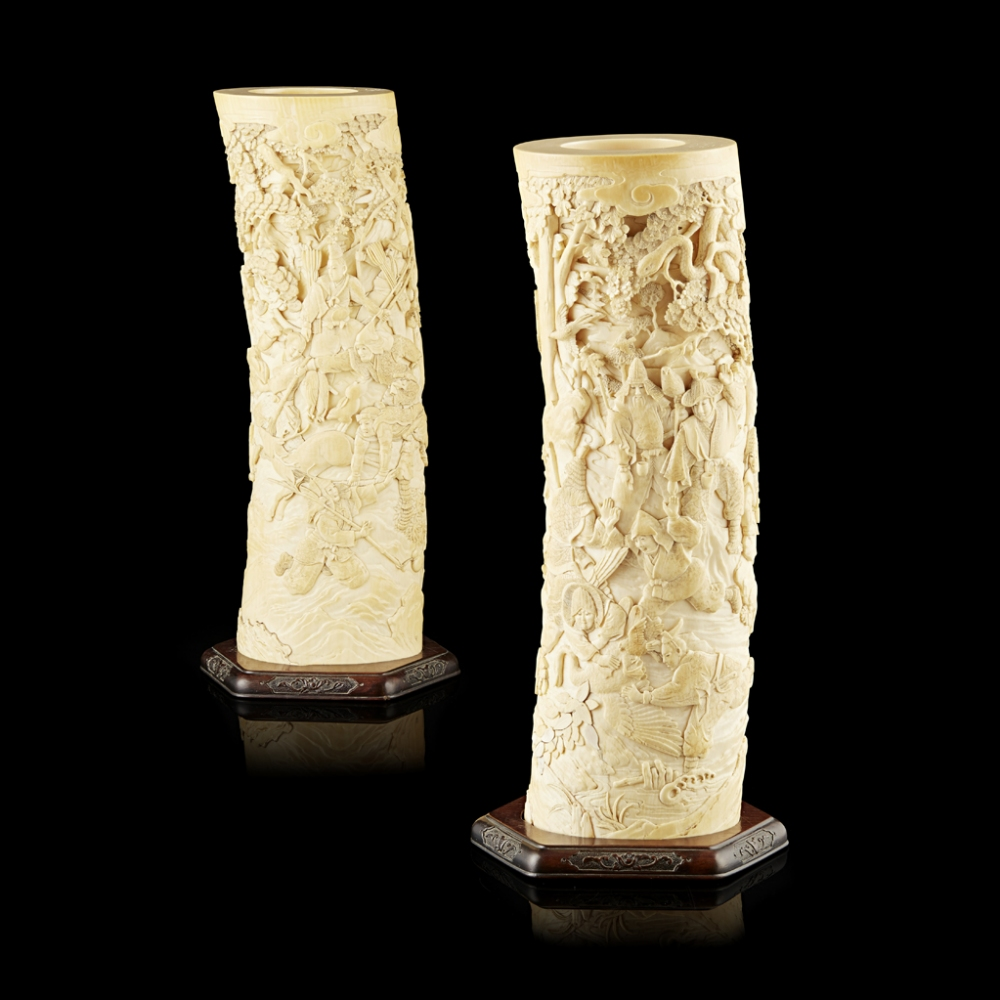 Lot 269 - PAIR OF FINELY CARVED 'FALCONRY' IVORY TUSK VASESMEIJI PERIOD each carved in high relief with a
