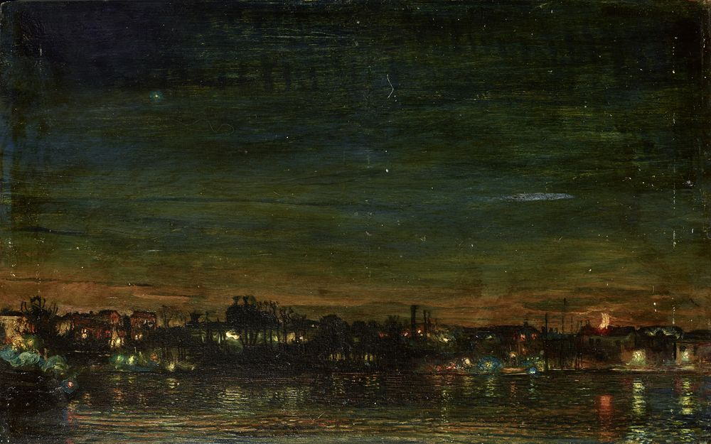 ISAAC IZRAILEVICH BRODSKY (1883-1939) - Night in a lacustry landscape (Night [...]
