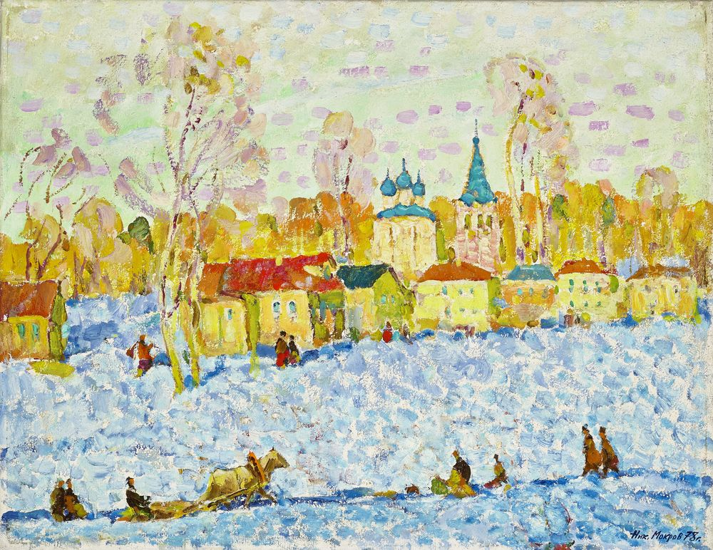 Nikolay Alekseevich MOKROV (1926-1996) - March in Suzdal signed in Cyrillic and [...]