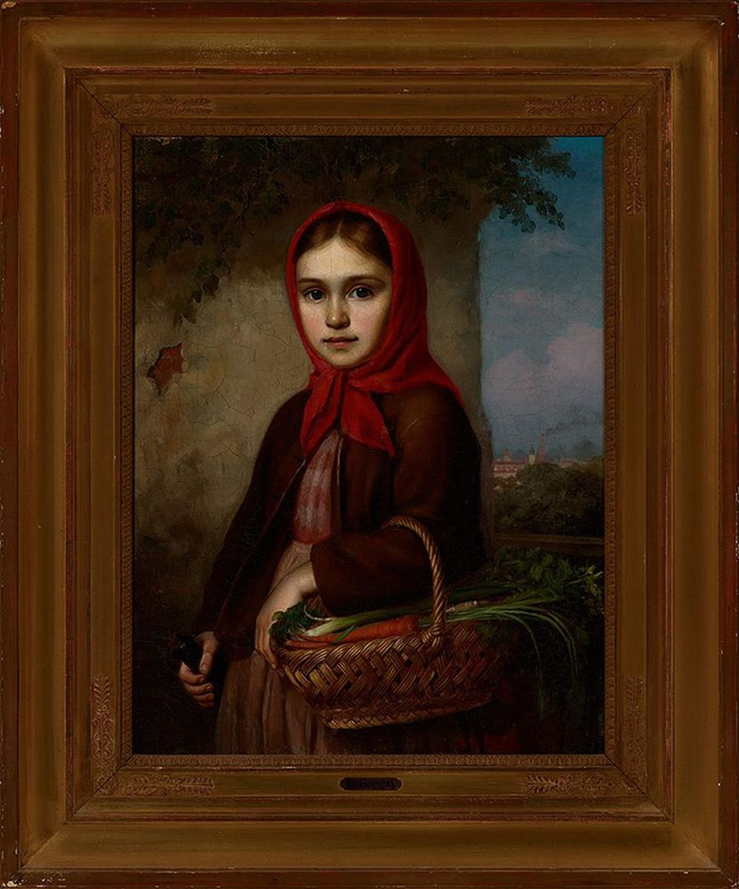 Vasilii Timofeevich TIMOFEEV (1835-1914) - Russian Girl with a Basket of Vegetables, [...] - Bild 2 aus 2