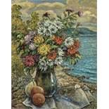David Burliuk (1882 – 1967) - Flowers and fruits on a beach Signed 'Burliuk' [...]