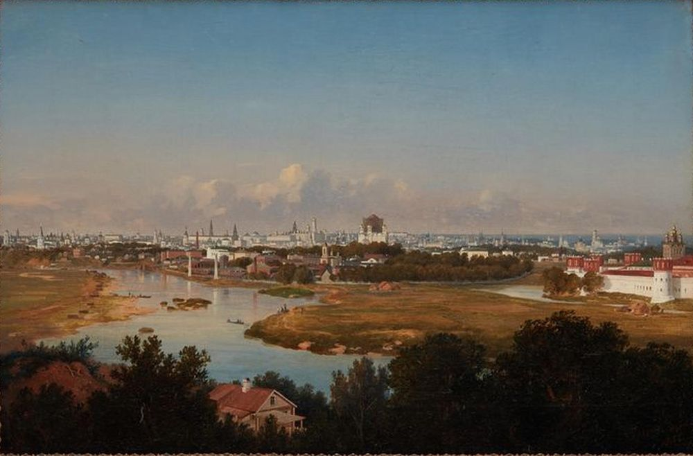 VLADIMIR FEDOROVICH AMMON (1826-1879) - View of Moscow from Vorobyovy Gory Signed [...]