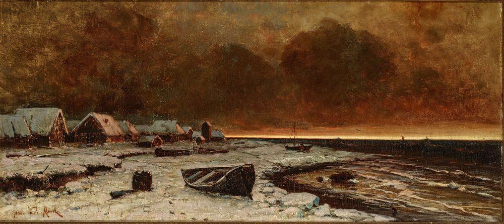 Julius Klever (1850-1924) - A village on Nargen Island. signed and dated '1880 J [...]