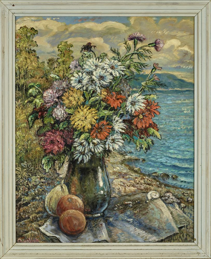 David Burliuk (1882 – 1967) - Flowers and fruits on a beach Signed 'Burliuk' [...] - Bild 2 aus 2
