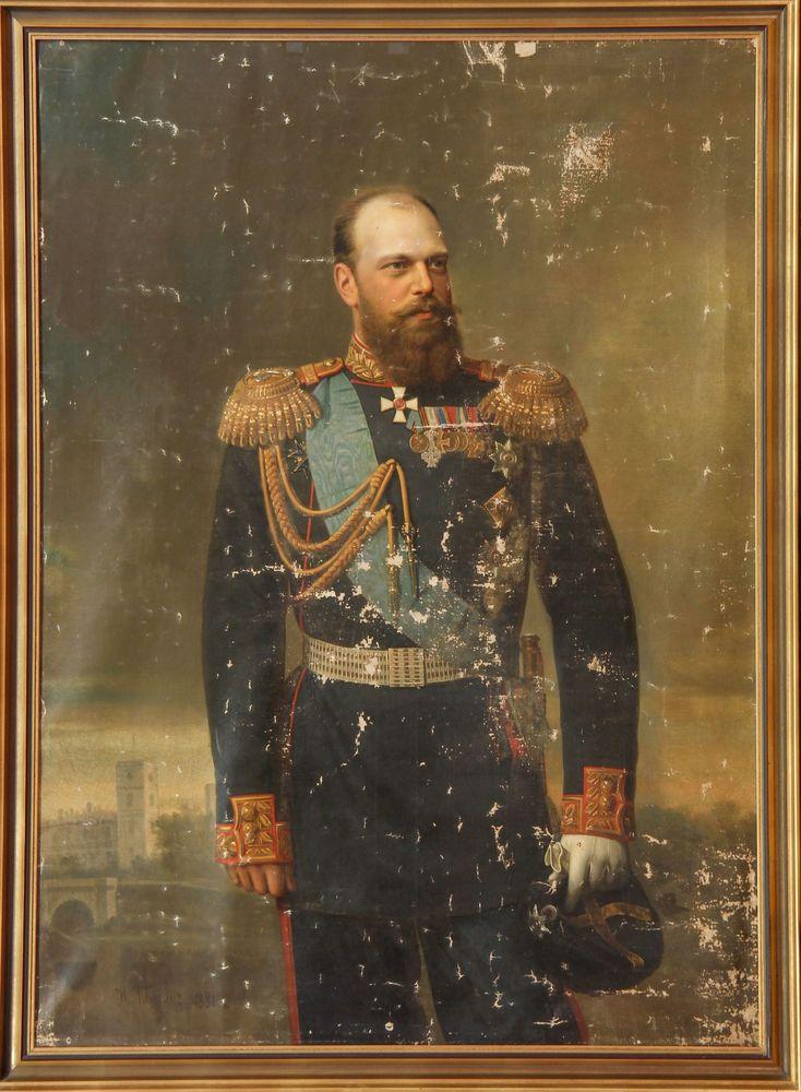 TYURIN IVAN ALEXEEVITCH (1824-1904/1905) - Portrait of Alexander III of Russia with [...] - Bild 2 aus 2