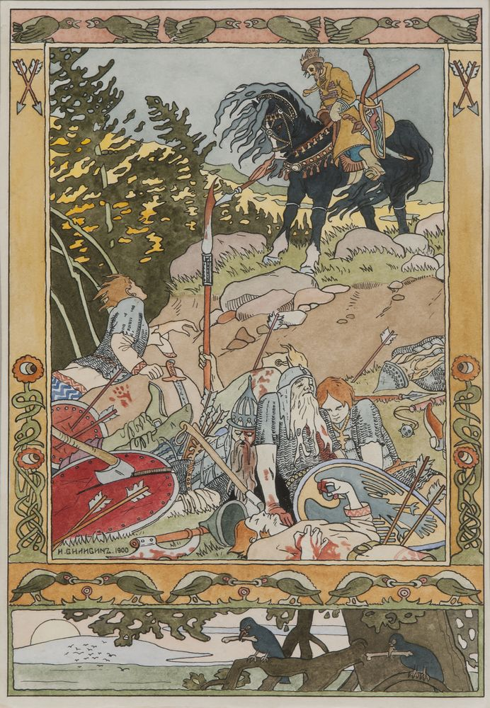 Ivan Bilibin (1876-1942) - The force is beaten - Ivan Tsarevich and soldiers. [...]