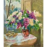 """Jaque Shapiro (1887/97-1972) - Flowers signed """"Jaque Chapiro"""" (lower right) Oil on [...]"""