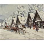 Konstantin Alekseyevich Korovin (1861-1939) - Troika in a Russian village Signed [...]