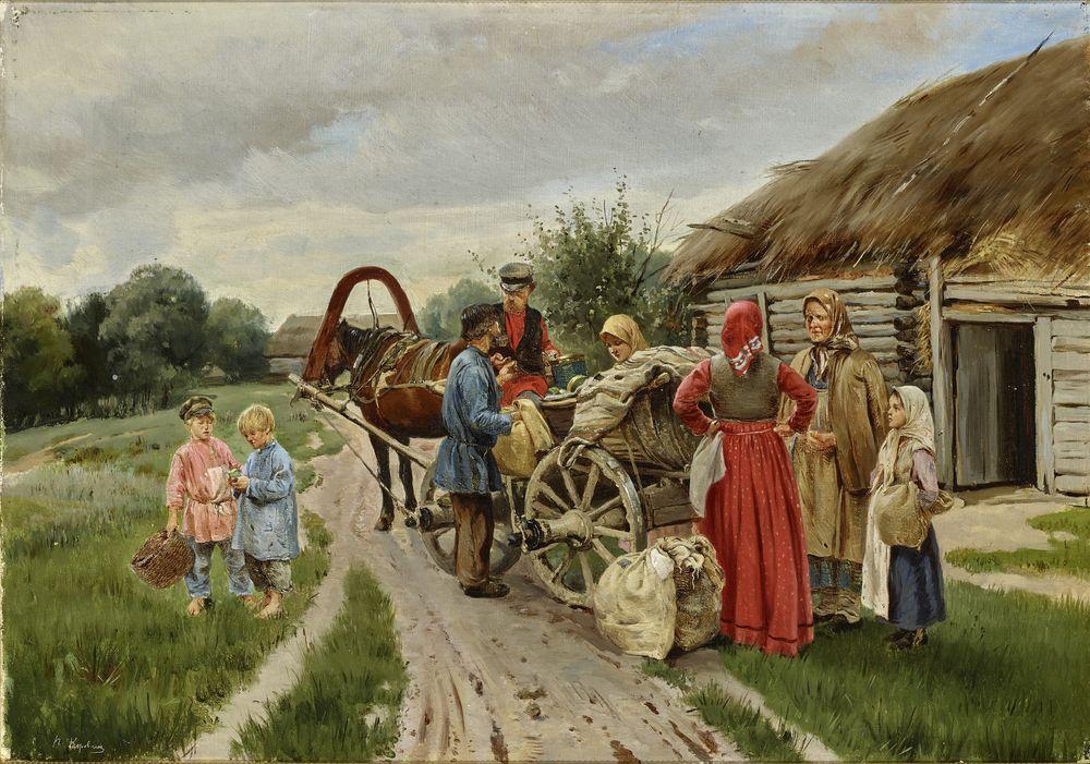 Pyotr Ivanovich Korovin (1857-1919) - At The Village Signed in Cyrillic 'P. [...]