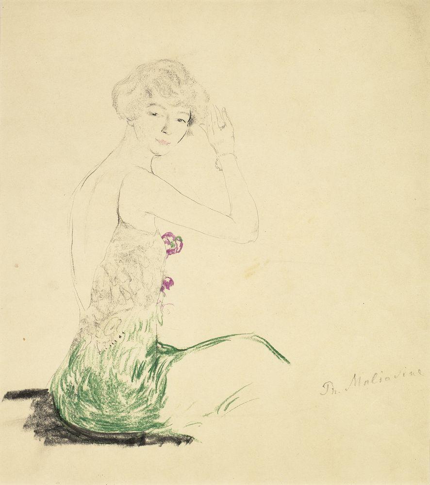 FILIPP MALYAVIN (1869-1940) - Five Female Portraits Each signed pencil, crayon on [...] - Bild 3 aus 5