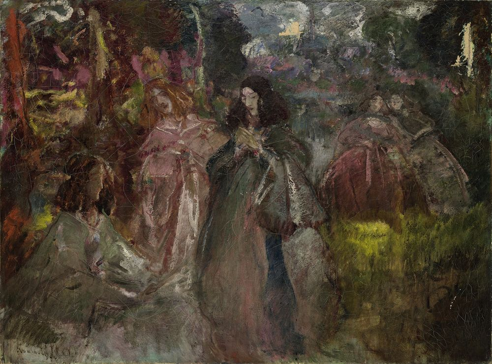 Constantin Kousnetsoff (1863–1936) - Court ladies on a forest walk signed [...]