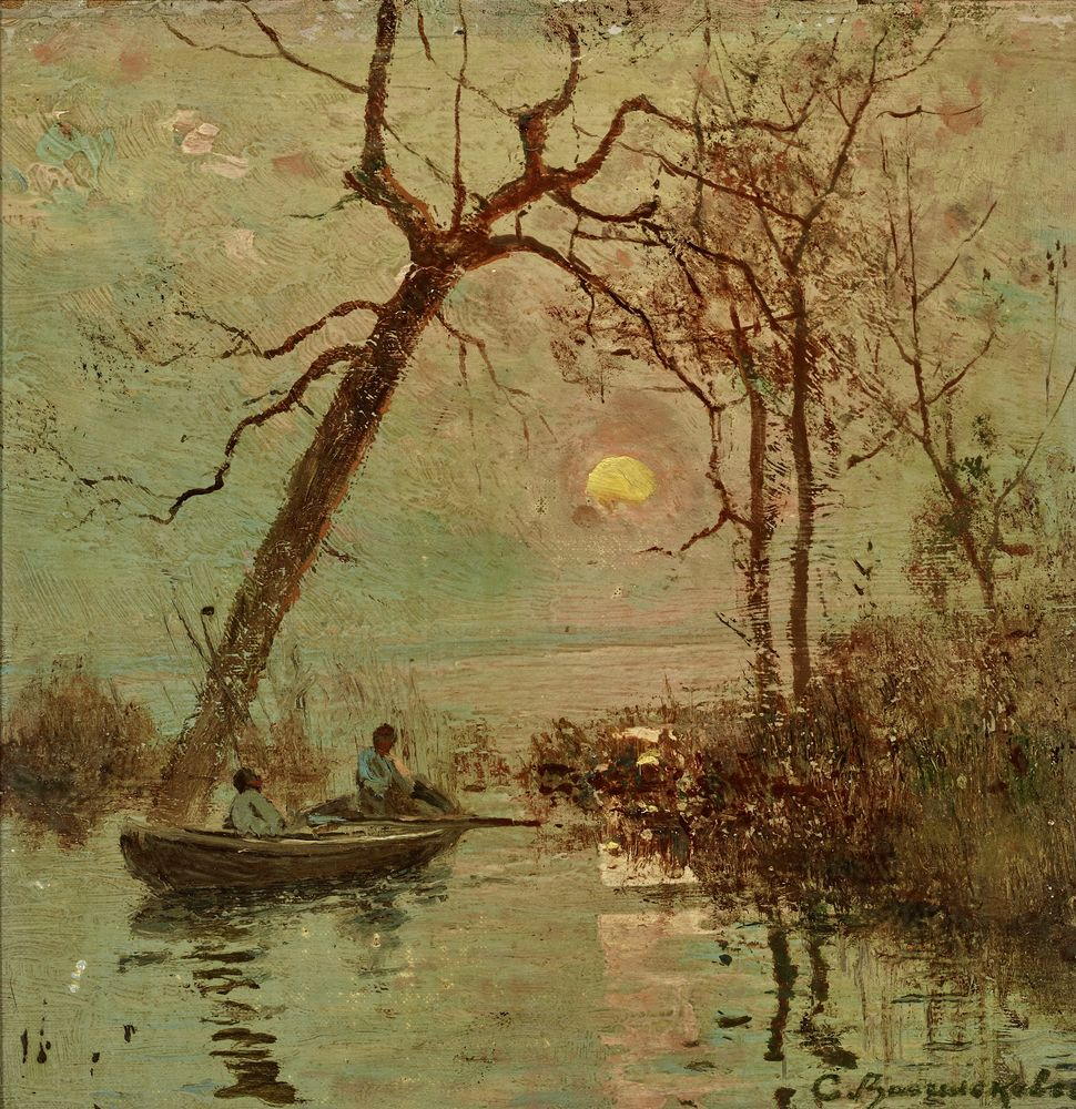 Sergey Ivanovich Vasilkovsky (1854-1917) - Sunset on the Dnieper Signed in Cyrillic [...]