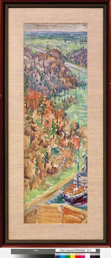 ILYA I. MASHKOV (1881-1944) - Moscow-Volga Canal. 1935. Oil on cardboard 73 x 26.5 [...] - Bild 2 aus 2