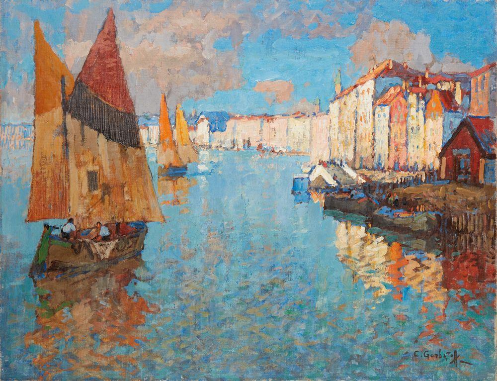 KONSTANTIN IVANOVICH GORBATOV (1876-1945) - View of Chioggia, Venice oil on canvas [...]