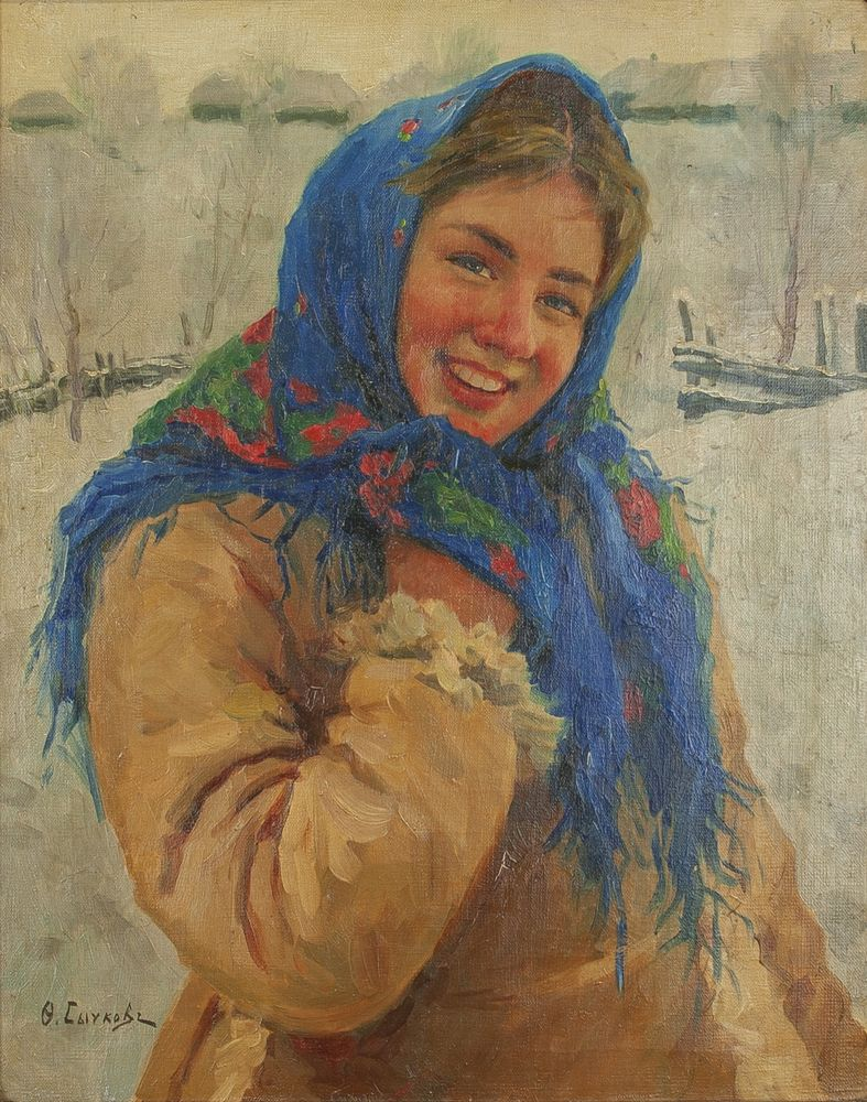 Fedot Vasilievich Sychkov (1870-1958) - Girl With Scarf Signed in Cyrillic 'Ф. [...]