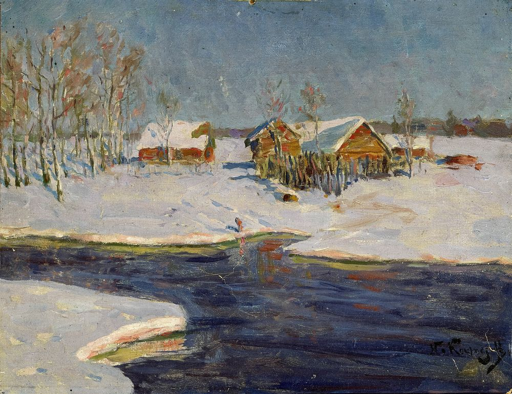 Nicolaj Dmitrievic KUZNETSOV (1850-1929) - Sunrise in a snowy countryside signed [...]