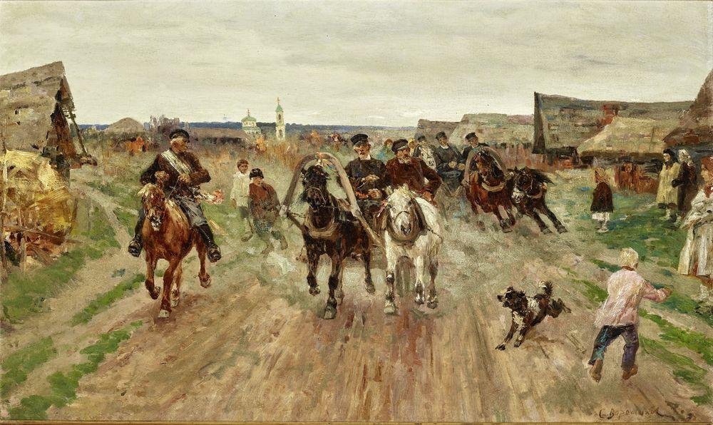 Sergey Semyonovich Voroshilov (1865 - after 1911) - Wedding procession of troikas [...]
