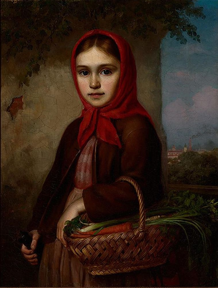 Vasilii Timofeevich TIMOFEEV (1835-1914) - Russian Girl with a Basket of Vegetables, [...]